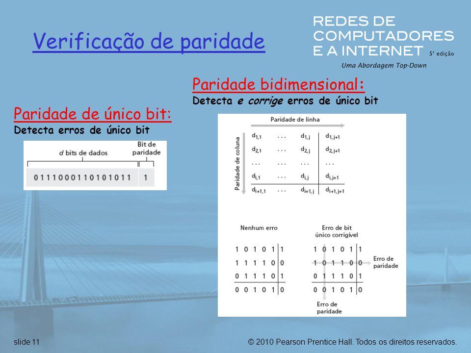 © 2010 Pearson Prentice Hall. Todos os direitos reservados.slide 11 Verificação de paridade Paridade de único bit: Detecta erros de único bit Paridade