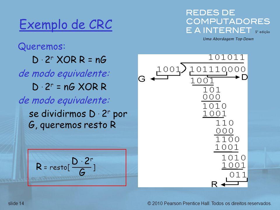 © 2010 Pearson Prentice Hall. Todos os direitos reservados.slide 14 Exemplo de CRC Queremos: D. 2 r XOR R = nG de modo equivalente: D. 2 r = nG XOR R
