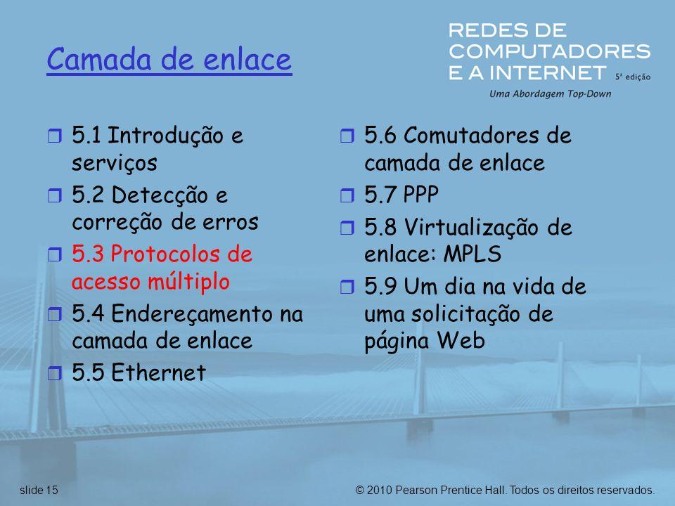© 2010 Pearson Prentice Hall. Todos os direitos reservados.slide 15 Camada de enlace r 5.1 Introdução e serviços r 5.2 Detecção e correção de erros r