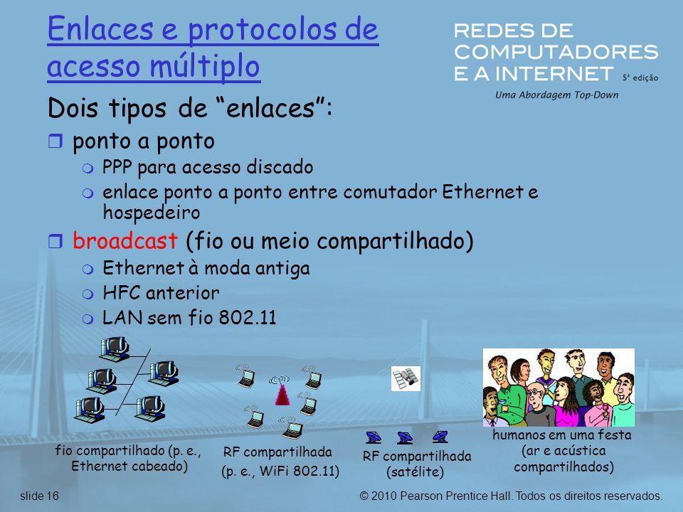 © 2010 Pearson Prentice Hall. Todos os direitos reservados.slide 16 Enlaces e protocolos de acesso múltiplo Dois tipos de enlaces: r ponto a ponto m P