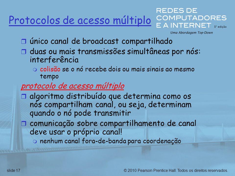 © 2010 Pearson Prentice Hall. Todos os direitos reservados.slide 17 Protocolos de acesso múltiplo r único canal de broadcast compartilhado r duas ou m