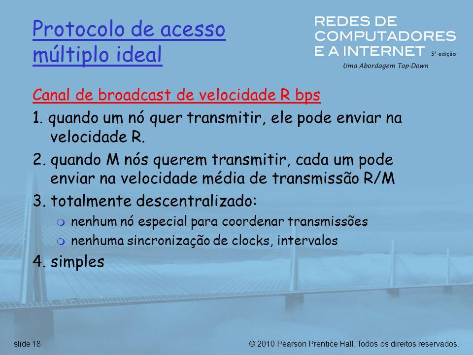 © 2010 Pearson Prentice Hall. Todos os direitos reservados.slide 18 Protocolo de acesso múltiplo ideal Canal de broadcast de velocidade R bps 1. quand