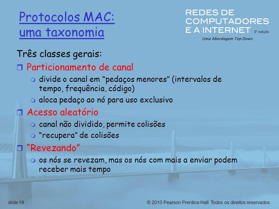 © 2010 Pearson Prentice Hall. Todos os direitos reservados.slide 19 Protocolos MAC: uma taxonomia Três classes gerais: r Particionamento de canal m di