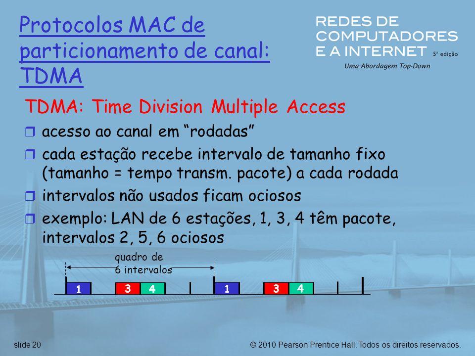 © 2010 Pearson Prentice Hall. Todos os direitos reservados.slide 20 Protocolos MAC de particionamento de canal: TDMA TDMA: Time Division Multiple Acce