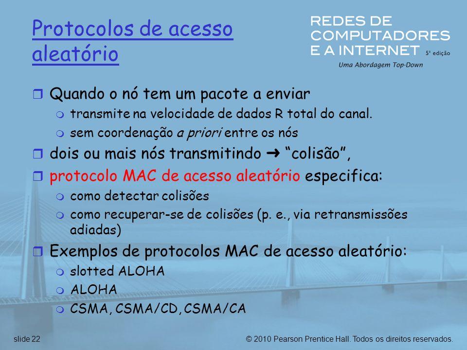 © 2010 Pearson Prentice Hall. Todos os direitos reservados.slide 22 Protocolos de acesso aleatório r Quando o nó tem um pacote a enviar m transmite na