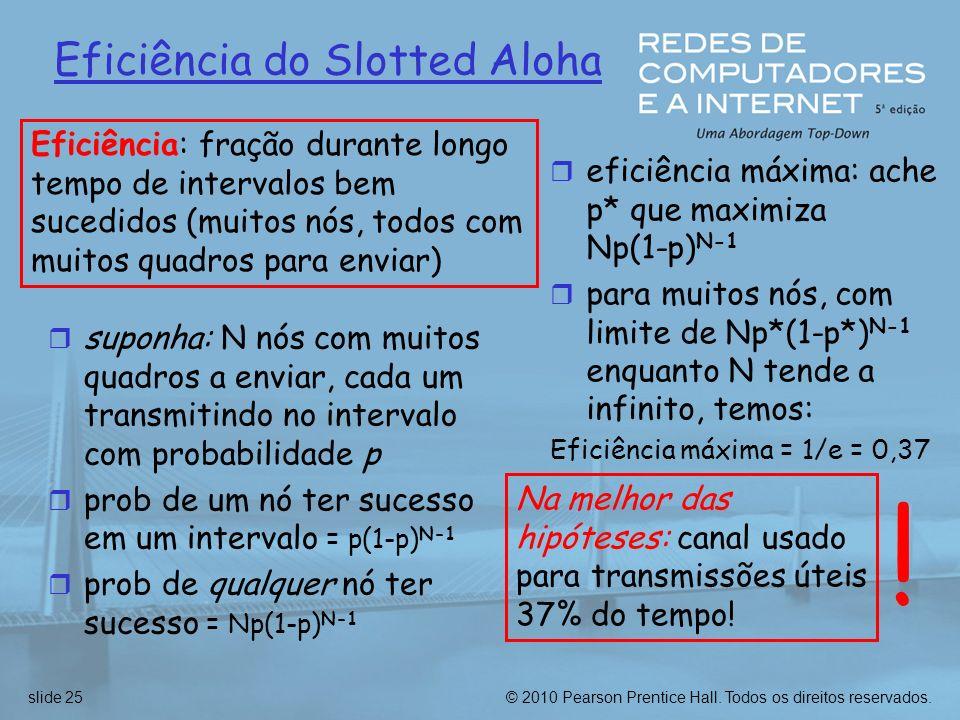 © 2010 Pearson Prentice Hall. Todos os direitos reservados.slide 25 Eficiência do Slotted Aloha r suponha: N nós com muitos quadros a enviar, cada um