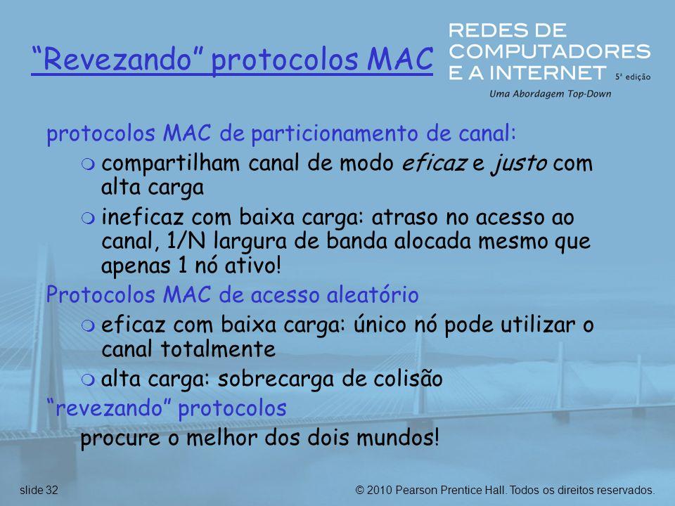 © 2010 Pearson Prentice Hall. Todos os direitos reservados.slide 32 Revezando protocolos MAC protocolos MAC de particionamento de canal: m compartilha