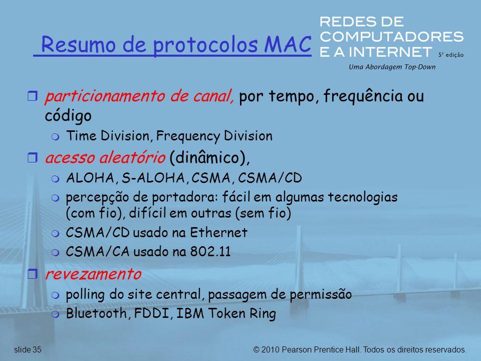 © 2010 Pearson Prentice Hall. Todos os direitos reservados.slide 35 Resumo de protocolos MAC r particionamento de canal, por tempo, frequência ou códi