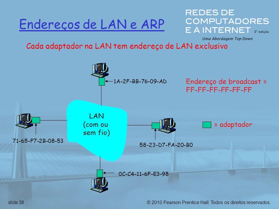 © 2010 Pearson Prentice Hall. Todos os direitos reservados.slide 38 Endereços de LAN e ARP Cada adaptador na LAN tem endereço de LAN exclusivo Endereç