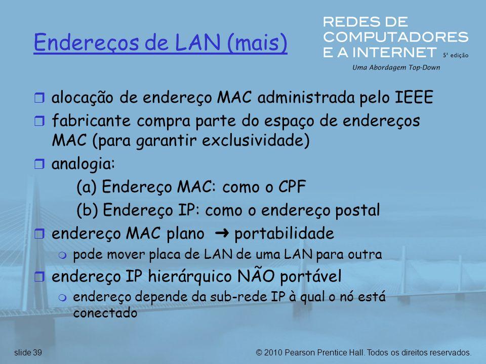 © 2010 Pearson Prentice Hall. Todos os direitos reservados.slide 39 Endereços de LAN (mais) r alocação de endereço MAC administrada pelo IEEE r fabric