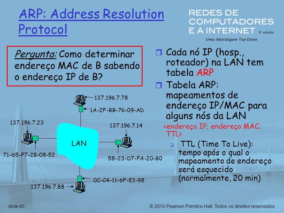 © 2010 Pearson Prentice Hall. Todos os direitos reservados.slide 40 ARP: Address Resolution Protocol r Cada nó IP (hosp., roteador) na LAN tem tabela