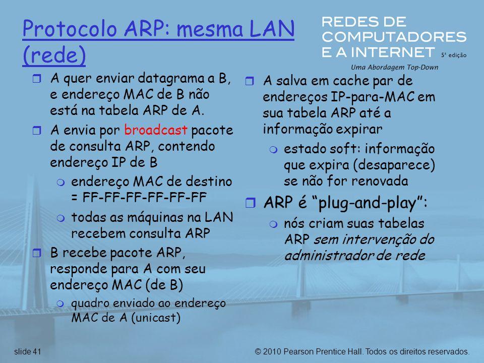 © 2010 Pearson Prentice Hall. Todos os direitos reservados.slide 41 Protocolo ARP: mesma LAN (rede) r A quer enviar datagrama a B, e endereço MAC de B