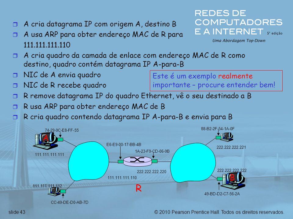 © 2010 Pearson Prentice Hall. Todos os direitos reservados.slide 43 r A cria datagrama IP com origem A, destino B r A usa ARP para obter endereço MAC