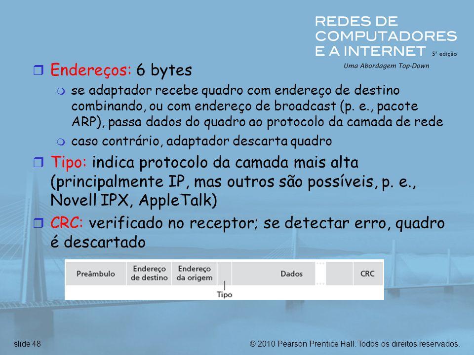 © 2010 Pearson Prentice Hall. Todos os direitos reservados.slide 48 r Endereços: 6 bytes m se adaptador recebe quadro com endereço de destino combinan