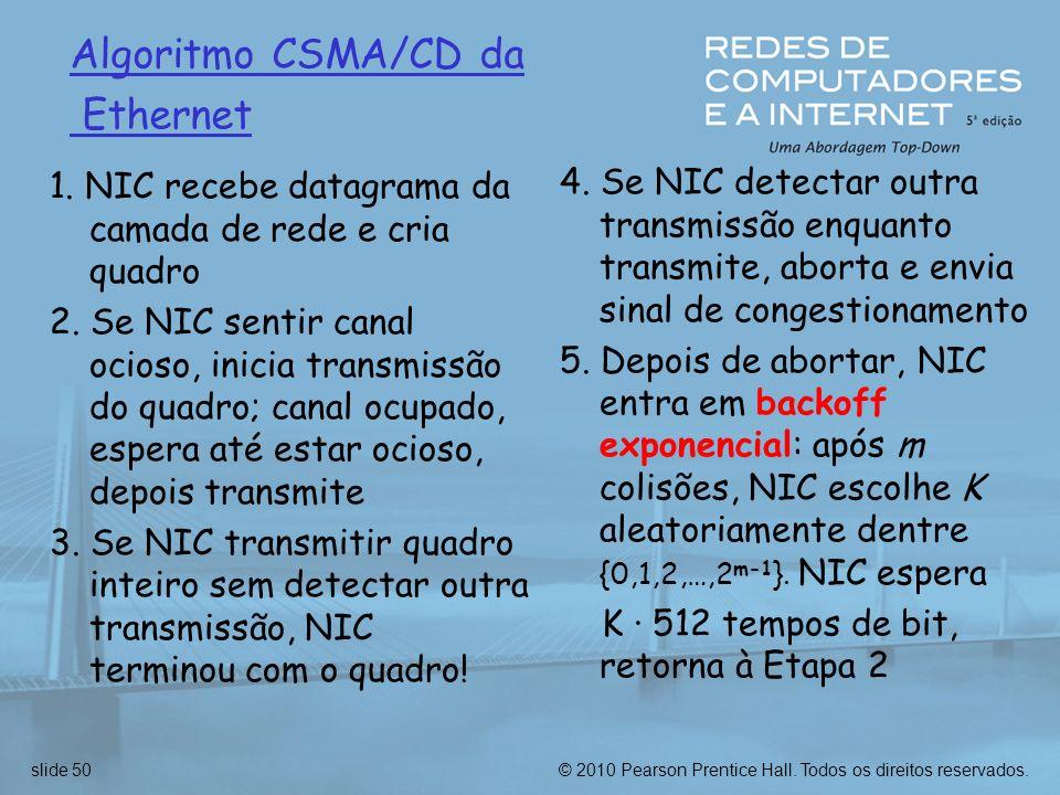 © 2010 Pearson Prentice Hall. Todos os direitos reservados.slide 50 Algoritmo CSMA/CD da Ethernet 1. NIC recebe datagrama da camada de rede e cria qua