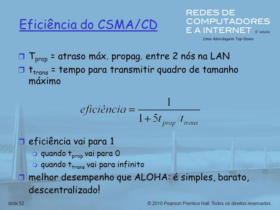 © 2010 Pearson Prentice Hall. Todos os direitos reservados.slide 52 Eficiência do CSMA/CD r T prop = atraso máx. propag. entre 2 nós na LAN r t trans