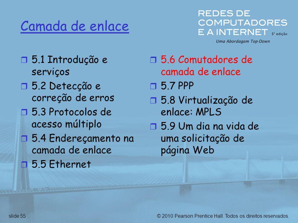 © 2010 Pearson Prentice Hall. Todos os direitos reservados.slide 55 Camada de enlace r 5.1 Introdução e serviços r 5.2 Detecção e correção de erros r
