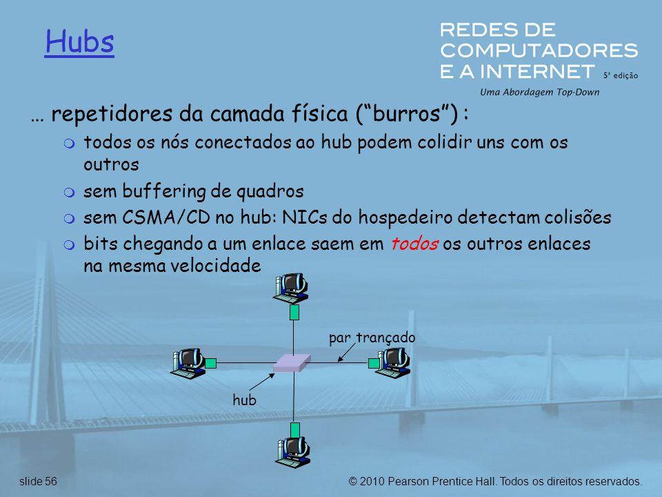 © 2010 Pearson Prentice Hall. Todos os direitos reservados.slide 56 Hubs … repetidores da camada física (burros) : m todos os nós conectados ao hub po
