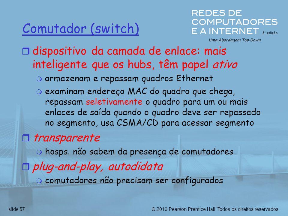 © 2010 Pearson Prentice Hall. Todos os direitos reservados.slide 57 Comutador (switch) r dispositivo da camada de enlace: mais inteligente que os hubs