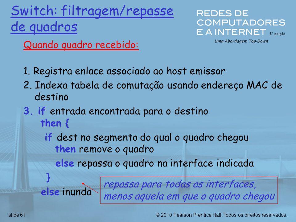 © 2010 Pearson Prentice Hall. Todos os direitos reservados.slide 61 Switch: filtragem/repasse de quadros Quando quadro recebido: 1. Registra enlace as