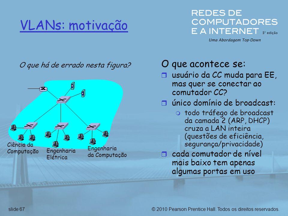 © 2010 Pearson Prentice Hall. Todos os direitos reservados.slide 67 VLANs: motivação O que acontece se: r usuário da CC muda para EE, mas quer se cone