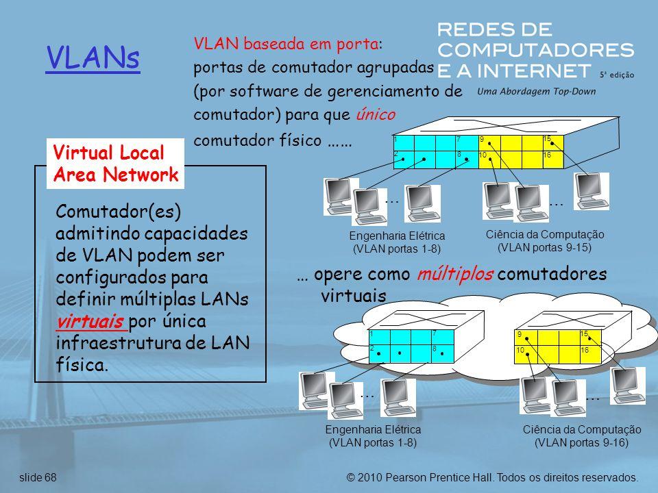 © 2010 Pearson Prentice Hall. Todos os direitos reservados.slide 68 VLANs VLAN baseada em porta: portas de comutador agrupadas (por software de gerenc