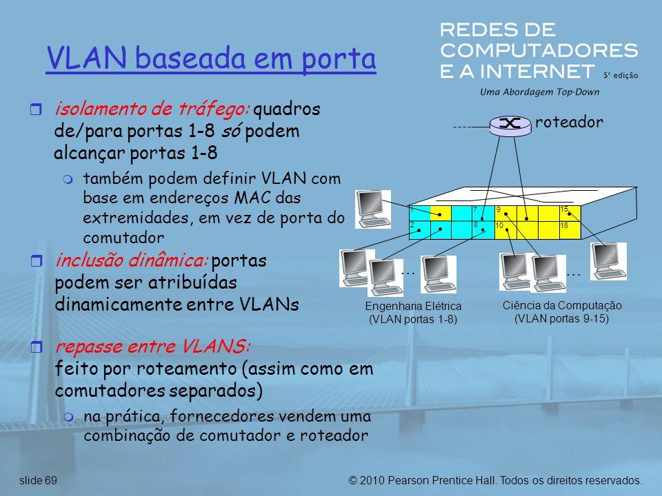 © 2010 Pearson Prentice Hall. Todos os direitos reservados.slide 69 VLAN baseada em porta 1 8 9 1610 2 7 … Engenharia Elétrica (VLAN portas 1-8) Ciênc