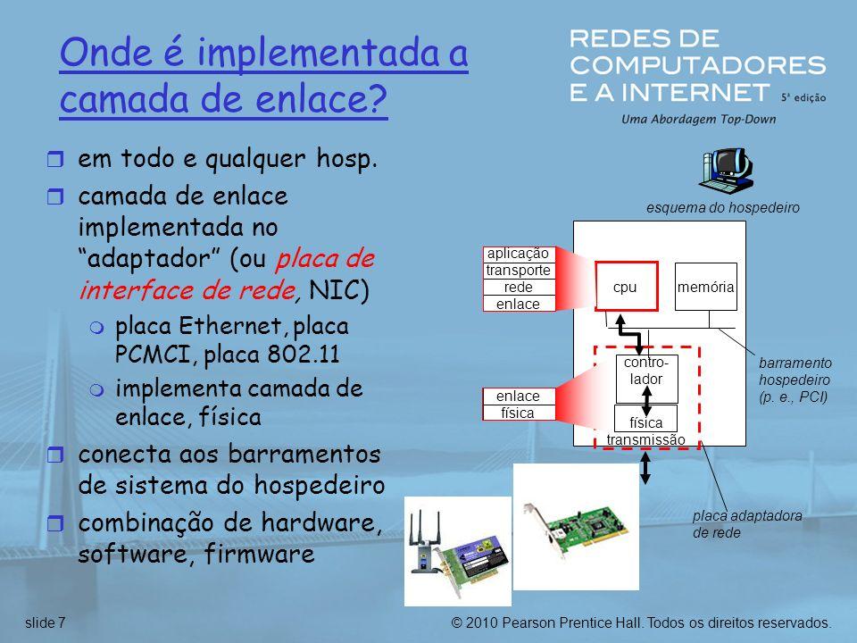 © 2010 Pearson Prentice Hall. Todos os direitos reservados.slide 7 Onde é implementada a camada de enlace? r em todo e qualquer hosp. r camada de enla
