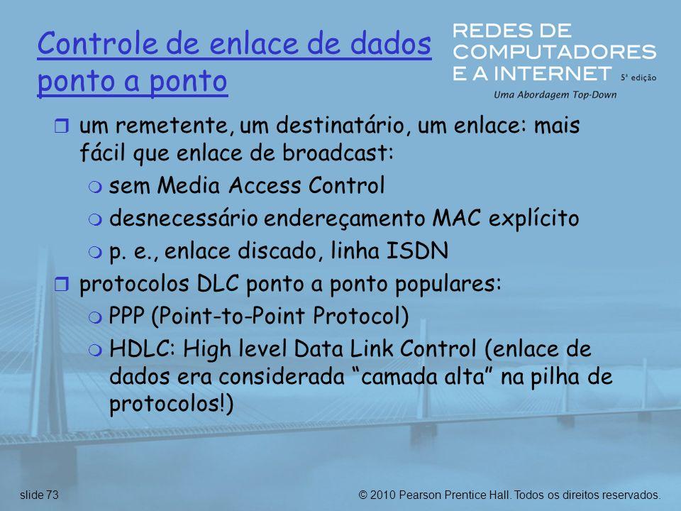 © 2010 Pearson Prentice Hall. Todos os direitos reservados.slide 73 Controle de enlace de dados ponto a ponto r um remetente, um destinatário, um enla