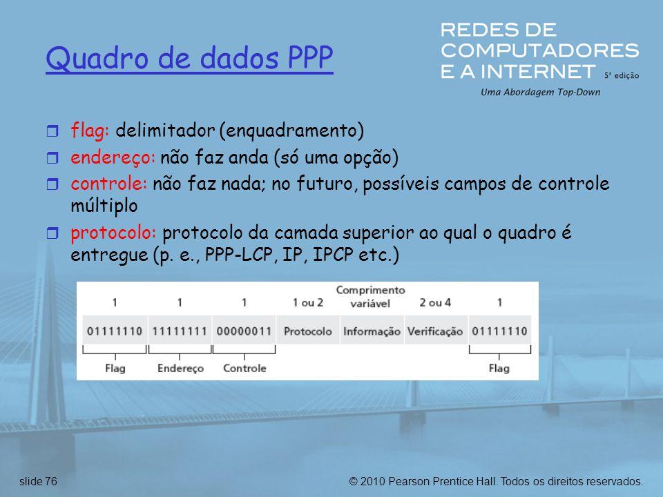 © 2010 Pearson Prentice Hall. Todos os direitos reservados.slide 76 Quadro de dados PPP r flag: delimitador (enquadramento) r endereço: não faz anda (