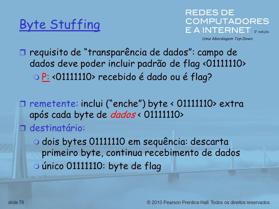 © 2010 Pearson Prentice Hall. Todos os direitos reservados.slide 78 Byte Stuffing r requisito de transparência de dados: campo de dados deve poder inc