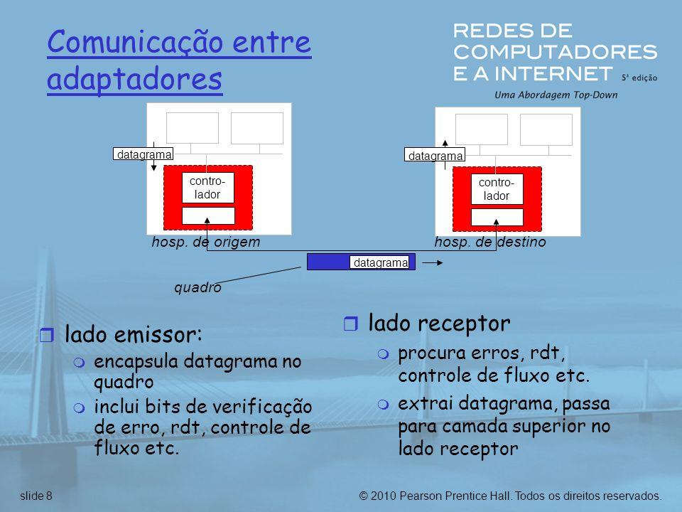 © 2010 Pearson Prentice Hall. Todos os direitos reservados.slide 8 Comunicação entre adaptadores r lado emissor: m encapsula datagrama no quadro m inc