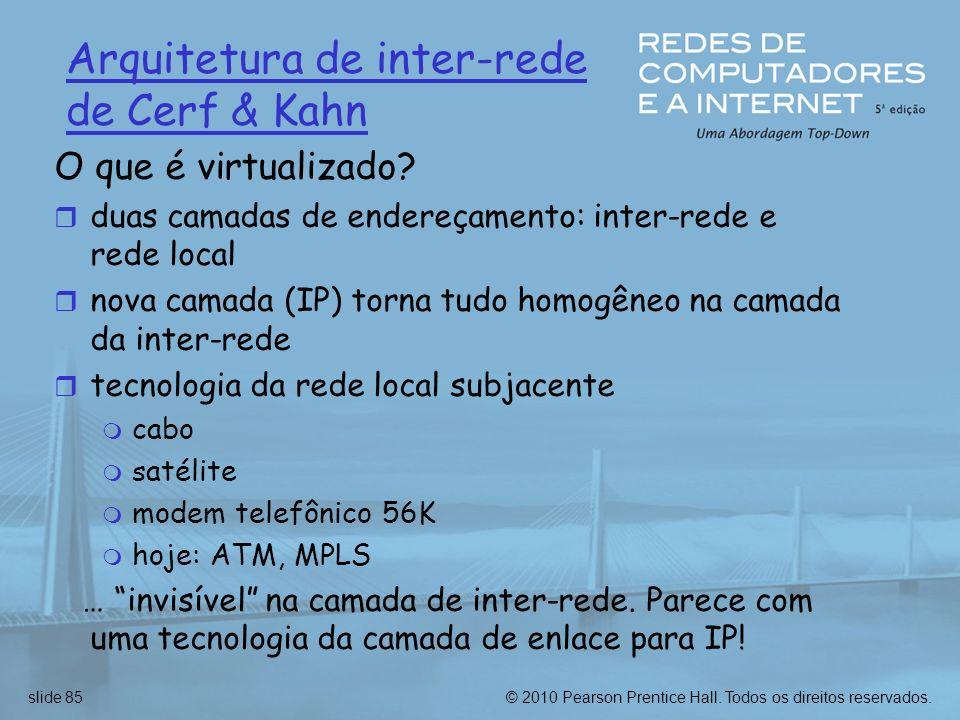 © 2010 Pearson Prentice Hall. Todos os direitos reservados.slide 85 Arquitetura de inter-rede de Cerf & Kahn O que é virtualizado? r duas camadas de e