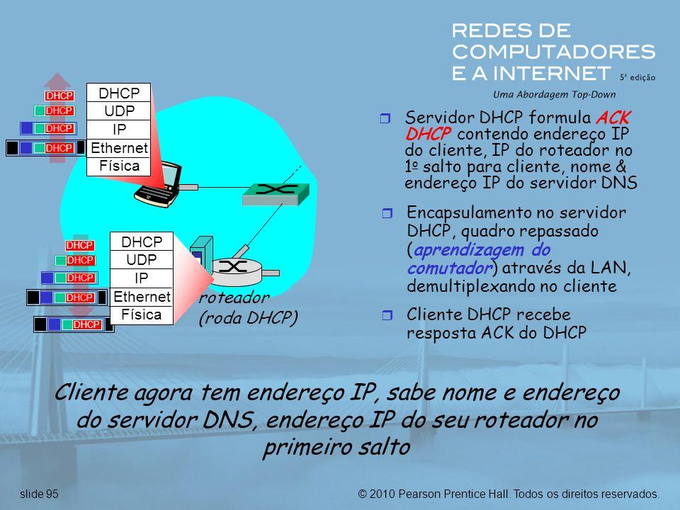 © 2010 Pearson Prentice Hall. Todos os direitos reservados.slide 95 r Servidor DHCP formula ACK DHCP contendo endereço IP do cliente, IP do roteador n