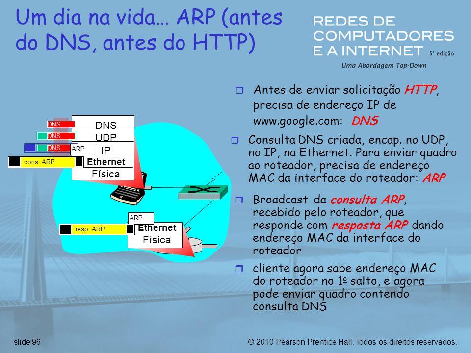 © 2010 Pearson Prentice Hall. Todos os direitos reservados.slide 96 Um dia na vida… ARP (antes do DNS, antes do HTTP) r Antes de enviar solicitação HT