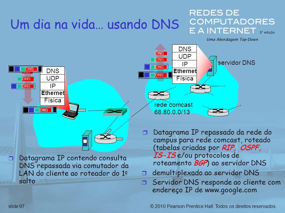 © 2010 Pearson Prentice Hall. Todos os direitos reservados.slide 97 Um dia na vida… usando DNS DNS UDP IP Ethernet Física DNS r Datagrama IP contendo