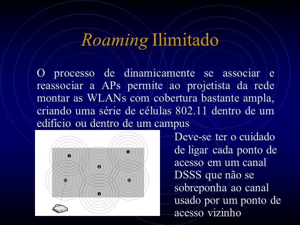 Roaming Ilimitado O processo de dinamicamente se associar e reassociar a APs permite ao projetista da rede montar as WLANs com cobertura bastante ampla, criando uma série de células 802.11 dentro de um edifício ou dentro de um campus Deve-se ter o cuidado de ligar cada ponto de acesso em um canal DSSS que não se sobreponha ao canal usado por um ponto de acesso vizinho