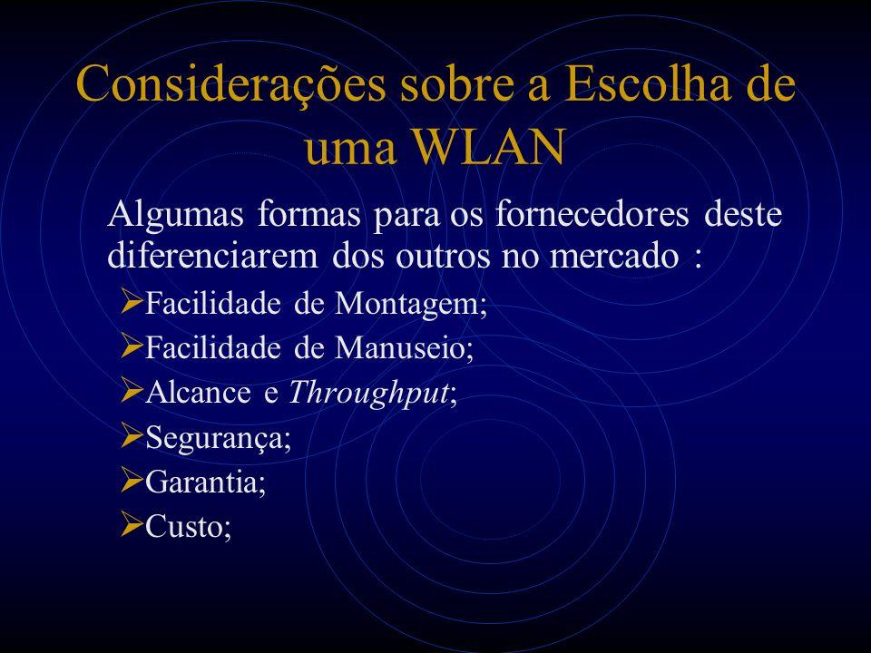 Considerações sobre a Escolha de uma WLAN Algumas formas para os fornecedores deste diferenciarem dos outros no mercado : Facilidade de Montagem; Faci