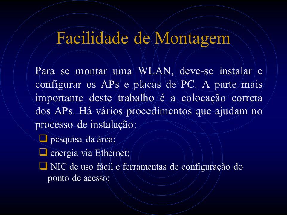 Facilidade de Montagem Para se montar uma WLAN, deve-se instalar e configurar os APs e placas de PC. A parte mais importante deste trabalho é a coloca