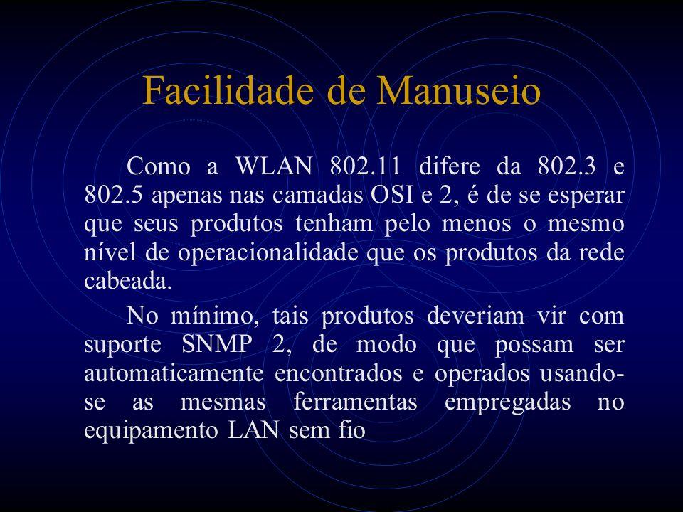 Facilidade de Manuseio Como a WLAN 802.11 difere da 802.3 e 802.5 apenas nas camadas OSI e 2, é de se esperar que seus produtos tenham pelo menos o mesmo nível de operacionalidade que os produtos da rede cabeada.