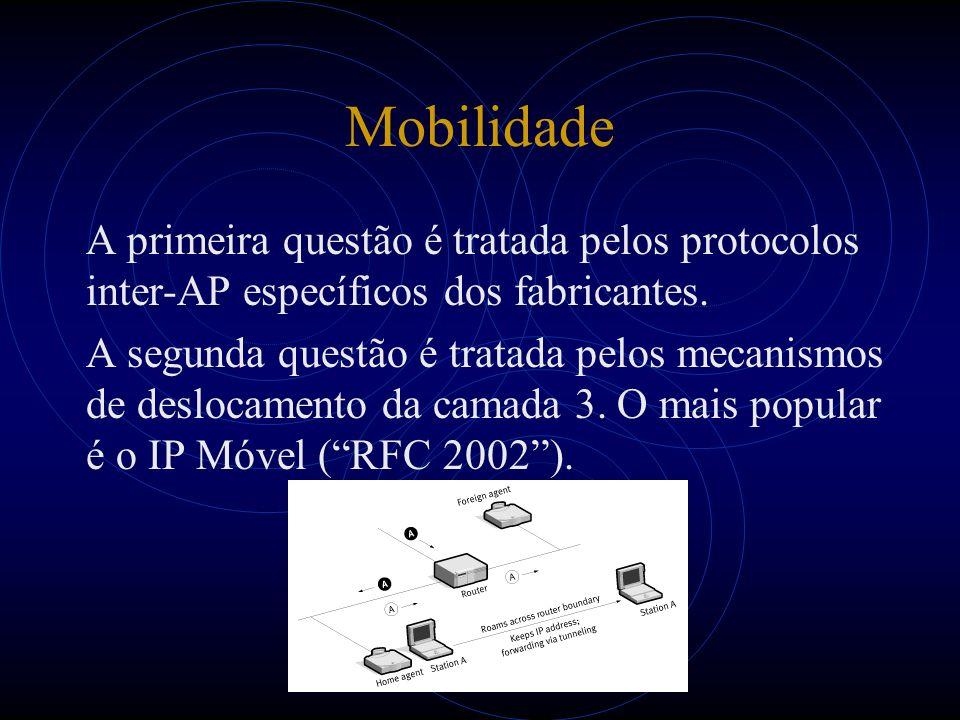 Mobilidade A primeira questão é tratada pelos protocolos inter-AP específicos dos fabricantes. A segunda questão é tratada pelos mecanismos de desloca