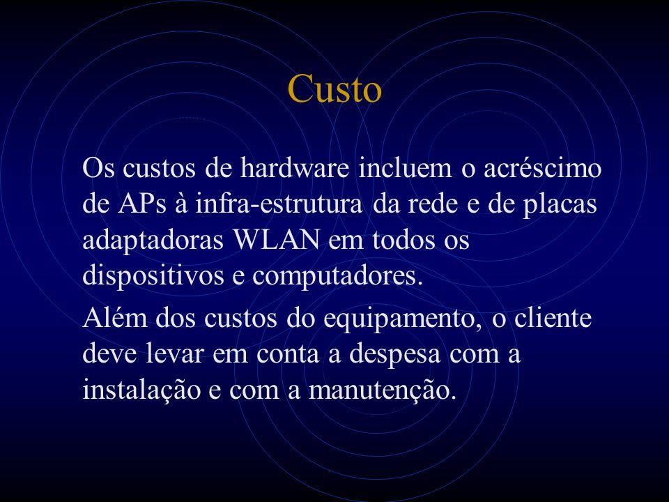 Custo Os custos de hardware incluem o acréscimo de APs à infra-estrutura da rede e de placas adaptadoras WLAN em todos os dispositivos e computadores.