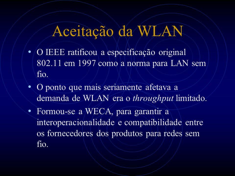 Aceitação da WLAN O IEEE ratificou a especificação original 802.11 em 1997 como a norma para LAN sem fio. O ponto que mais seriamente afetava a demand