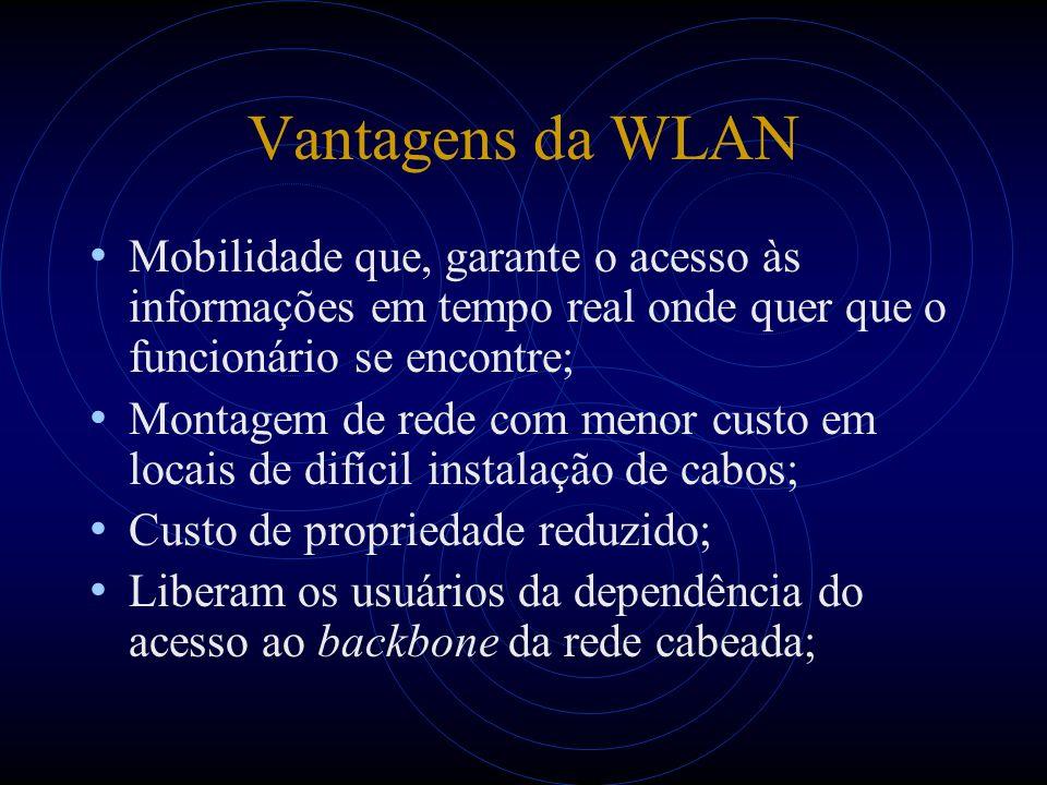 Vantagens da WLAN Mobilidade que, garante o acesso às informações em tempo real onde quer que o funcionário se encontre; Montagem de rede com menor cu