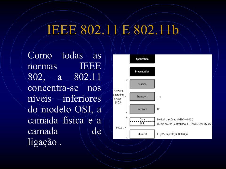 IEEE 802.11 E 802.11b Como todas as normas IEEE 802, a 802.11 concentra-se nos níveis inferiores do modelo OSI, a camada física e a camada de ligação.