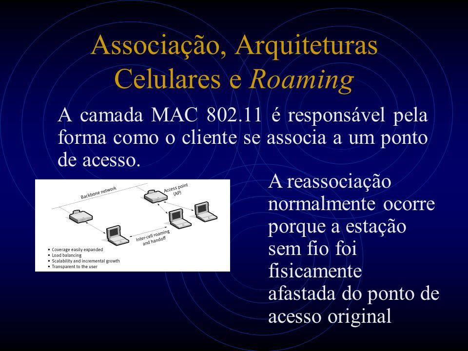 Associação, Arquiteturas Celulares e Roaming A camada MAC 802.11 é responsável pela forma como o cliente se associa a um ponto de acesso. A reassociaç