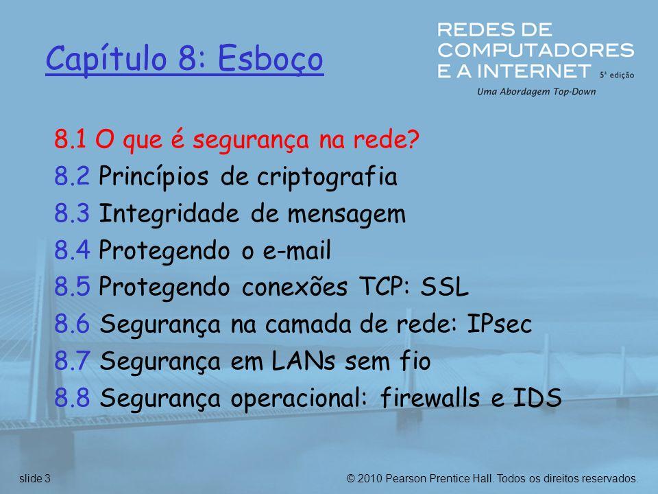 © 2010 Pearson Prentice Hall.Todos os direitos reservados.slide 4 O que é segurança na rede.