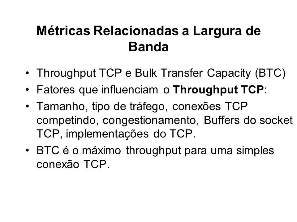 Métricas Relacionadas a Largura de Banda Throughput TCP e Bulk Transfer Capacity (BTC) Fatores que influenciam o Throughput TCP: Tamanho, tipo de tráf
