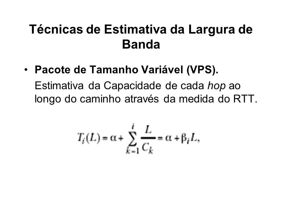 Técnicas de Estimativa da Largura de Banda Pacote de Tamanho Variável (VPS). Estimativa da Capacidade de cada hop ao longo do caminho através da medid