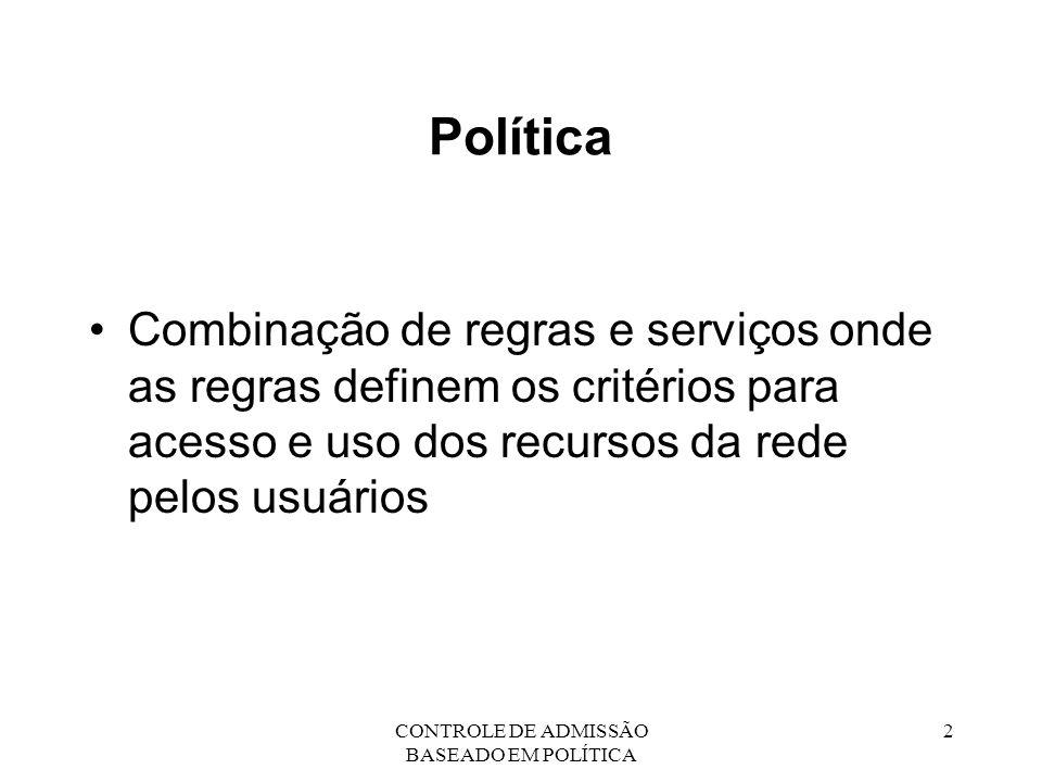 CONTROLE DE ADMISSÃO BASEADO EM POLÍTICA 3 Controle Político Aplicação das regras políticas para determinar se o acesso a um dado recurso deve ou não ser concedido a um usuário da rede